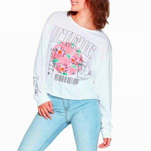 NWT Women's Iconic Long Sleeve Cropped Graphic Tee